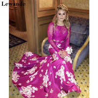 Lewande 50488 Lace Two Piece Floral Print Prom Dress Long Sleeve Print Mermaid Beaded Plum Satin Illusion Evening Dress