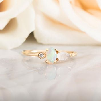 14kt Opal, Diamond and Rainbow Moonstone Ring
