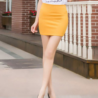 Candy Color Pencil Mini Skirt