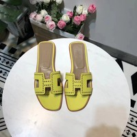 Hermes Women Trending Fashion Embroidery printing Casual Shoes Sandal Slipper Heels Yellow