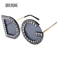 BRERONE 2018 New Luxury Brand Design Lady Oversized Square DG Sunglasses Women Vintage Diamond letter Frame Sun Glasses Female