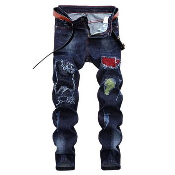 LASPERAL Streetwear Stretch Male Denim Jean Mens Brand Biker Jean For Men's Ripped Jeans For Men Casual Straight Men Jeans
