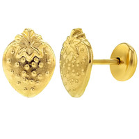 14k Gold Plated Small Strawberry Safety Backs Earrings Infants Baby Girls