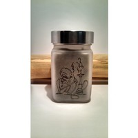 Hookah Smoking Alien Etched Glass Stash Jar