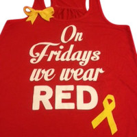 On Fridays We Wear Red - Deployment Tank - Racerback Tank - Ruffles with Love