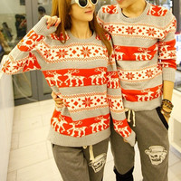 CHRISTMAS SNOWFLAKE EMBROIDERY FAWN PULLOVER SWEATER