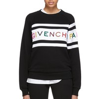 GIVENCHY Autumn Winter Newest Rainbow Letter Embroidery Round Collar Sweater Pullover Top