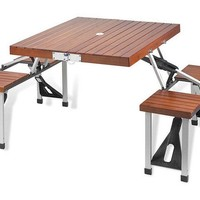 One Kings Lane - Open-Air Afternoons - Portable Picnic Table Set, Brown