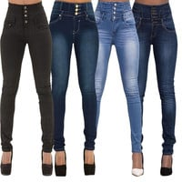 Woman Denim Pencil Pants Top Brand Stretch Jeans High Waist Pants Women High Waist Jeans