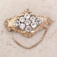 9K Victorian Brooch 14K Chain Yellow Gold Glass Stones Hand Engraved Vintage 011817BT
