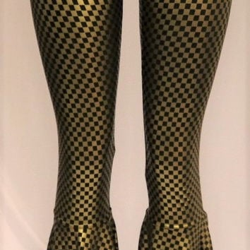 Checkered Bellbottom Pants (Black on Gold)