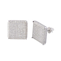 Mens Earrings Screwback Studs Sterling Silver GIANT 15mm Square CZ
