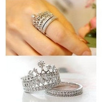 Women's fashion rings Korea jewelry fashion queen party sweet Rhinestone crown molding ring value of two sets cheap jewelry = 1946443140