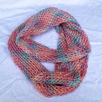 Dusty Pink and Baby Blue Extra Long Silk Infinity Scarf, Hand Crochet