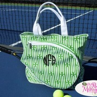 Monogrammed Canvas Green and White Tennis Tote at The Pink Monogram