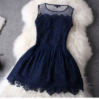Blue lace hollow out hook skirt / retro dress