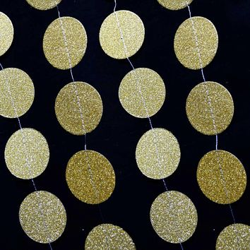 BLOWOUT Gold Glitter Round Circle Paper Garland Banner (10FT)