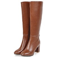 Winter boots square toe zip high heels knee high shoes