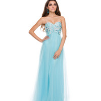 (PRE-ORDER) 2014 Prom Dresses - Aqua Tulle & Paisley Embellished Strapless Gown