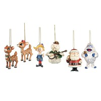 Rudolph the Red Nosed Reindeer Hanging Ornament Set with Rudolph, Clarice, Hermie, Sam the Snowman, Santa and Bumble, Set of 6