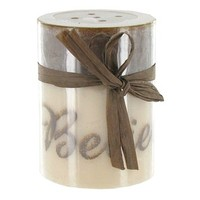 "3"" x 4"" Malted Cream Believe Printed Pillar Candle 