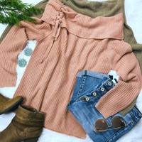 Lace Up Off the Shoulder Sweater: Rose