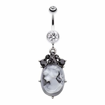 Vintage Victorian Cameo Belly Button Ring