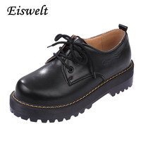 2016 British Style Women Oxfords New Spring Winter Lace-Up Flats Round Toe Creepers Casual Ladies Platform Shoes Woman#HDS39