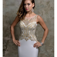 Preorder - Nina Canacci 8124 Ivory & Gold Embellished Sexy Long Dress 2016 Prom Dresses