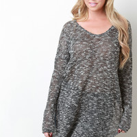 Marled Knit Long Sleeve High Low Sweater Top