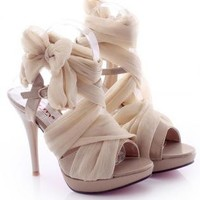 High Heel Chiffon Lace Up Sandals for Women BFC91