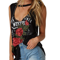 Good Times Rose Patch Cut Out Tank Black