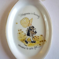 "Holly Hobbie Porcelain Wall Plate, Collector's Plate ""Happiness is having Someone to Care for"""
