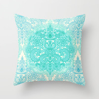 Happy Place Doodle in Mint Green & Aqua Throw Pillow by micklyn | Society6