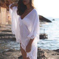 New Chiffon White Beach Wear Swimwear Women Bikini Lace Sunscreen Cover Ups swimming suits Kaftan dropshipping