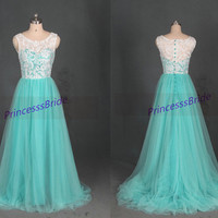 Long ivory lace mint tulle prom dresses,cheap cute dress for party under 150,discount bridesmaid gowns,elegant prom dress.