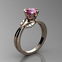 Swan 14K Rose Gold 1.0 Ct Pink Sapphire Fairy Engagement Ring R1030-14KRGPS