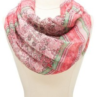 Mixed Paisley Striped Infinity Scarf by Charlotte Russe - Pink Multi
