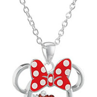 "Disney Silver Plated Minnie Mouse Silhouette Shaker Pendant Necklace, 18"" + 2"" Extender"