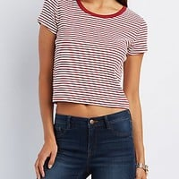 STRIPED & RIBBED RINGER TEE