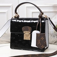 LV Louis Vuitton Trending Women Leather Chic Handbag Shoulder Bag Crossbody Satchel Black