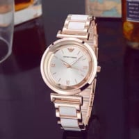 ARMANI Woman Men Fashion Business Watches Wrist Watch- Rose Gold