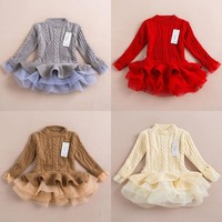 Christmas Costume For Baby Girl Dresses Clothing New Year Children Fleece Lace TUTU Princess Dress Kid Tulle Belle Clothes