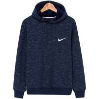 NIKE autumn and winter classic single hook small standard loose hooded casual hooded sweater Blue