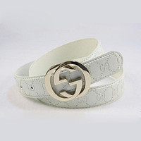GUCCI Woman Fashion Smooth Buckle Belt Leather Belt From Perfect