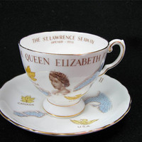 "Vintage TUSCAN Fine English Bone China ""Queen Elizabeth II St. Lawrence Seaway"" Tea Cup & Saucer Set Made in England, Lovely!"