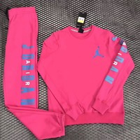 Nike Air Jordan Woman Men Fashion Round Neck Top Sweater Pullover Pants Trousers Set Two-Piece