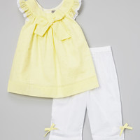 Yellow Bow Top & White Pants - Infant, Toddler & Girls | zulily