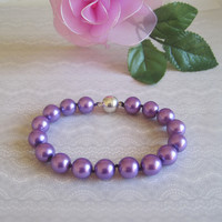 Purple Pearl Cat Collar, Dog Pearl Collar, Hand Knotted Cat Dog Jewelry Collar with Magnetic Clasp, Holiday Pet Gifts