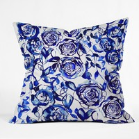 Holly Sharpe Painted Blue Outdoor Throw Pillow